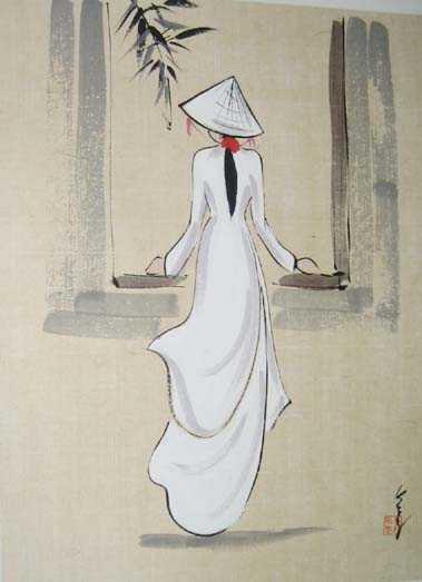 Kết quả hình ảnh cho tranh vẽ thiếu nữ áo dài